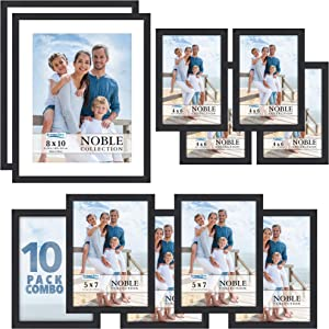 Icona Bay Combo-Sizes Black Picture Frames Set - 10 PC (Four 4x6, Four 5x7, Two 8x10), Noble Collection Multi-Pack, Modern Professional Design for Wall Gallery