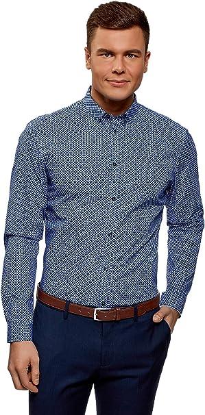 oodji Ultra Hombre Camisa Estampada de Algodón, Azul, 37: Amazon.es: Ropa y accesorios