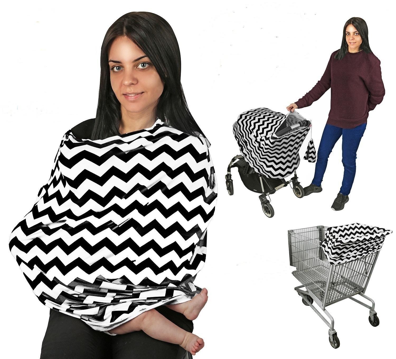 Nursing Breastfeeding Cover EZ Creations, Multi use-Stroller Canopy, Car Seat, Shopping Cart, Swaddle, Hi-Chair. Soft Breathable Washable (Black Chevron)