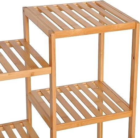 HOMCOM Estantería de Bambú 9 Niveles Estantería Almacenaje para ...