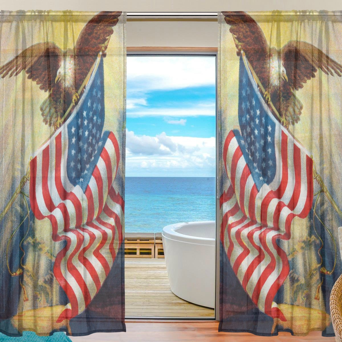 Vantaso Sheer Curtains 78 inch Long Bald Eagle and American Flag Vintage for Kids Girls Bedroom Living Room Window Decorative 2 Panels by Vantaso