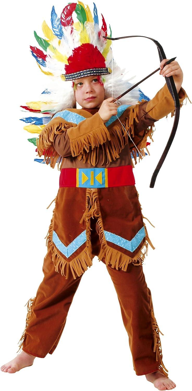 Cesar - Disfraz de jefe indio con arco y plumas para niño (de 5/7 ...