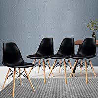 Artiss Dining Chairs Set of 4, Plastic Wooden Eames Dining Chairs, Black
