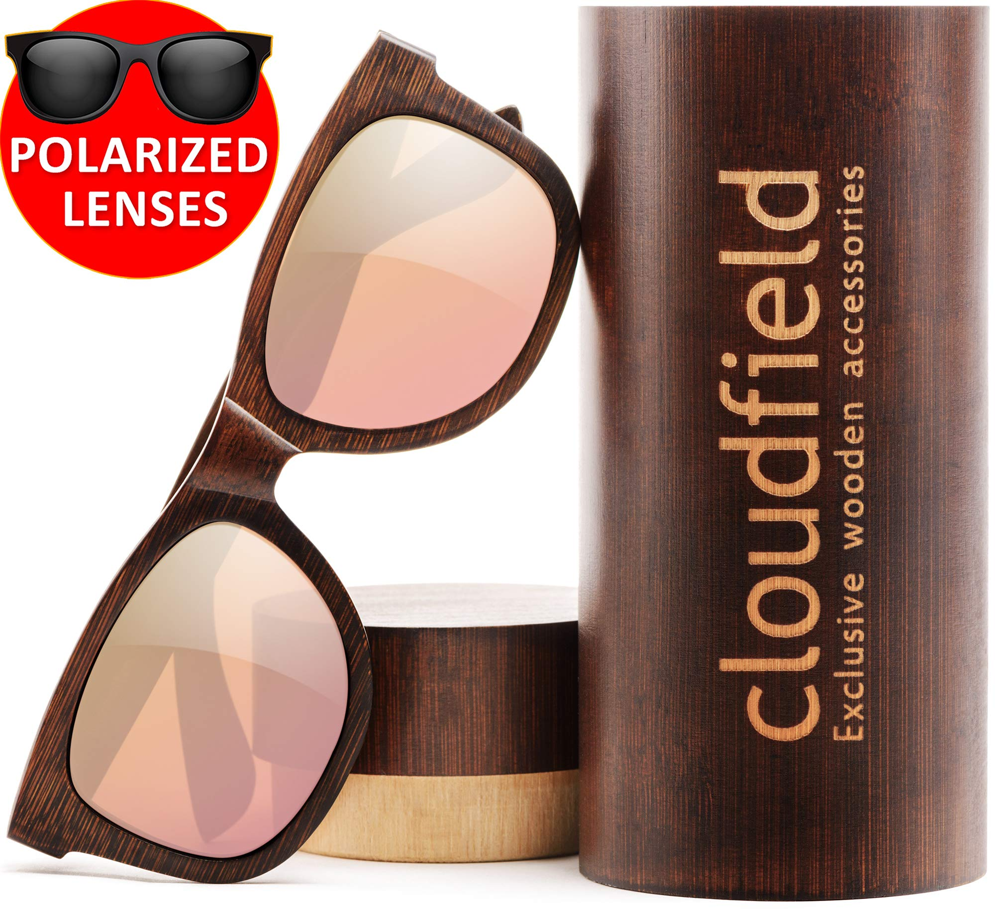 Wood Sunglasses Polarized for Men and Women by CLOUDFIELD - Wooden Wayfarer Style - 100% UV Protection - Premium Build Quality - Bamboo Wooden Frame - Perfect Gift by cloudfield