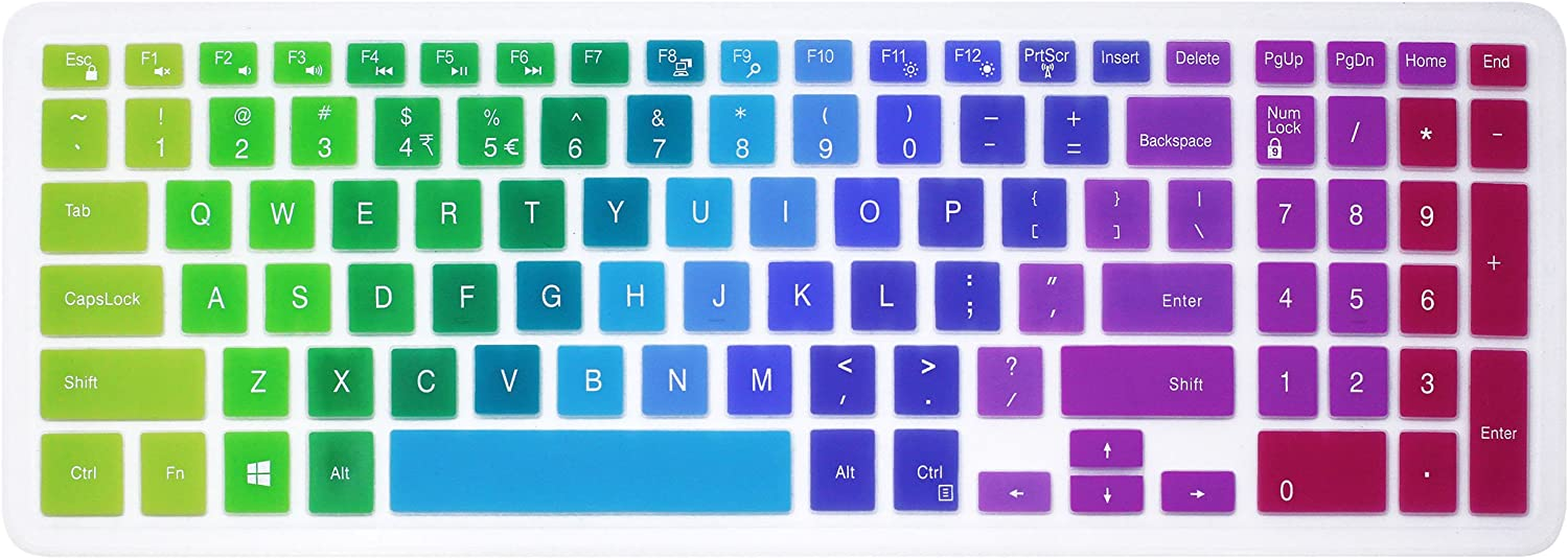 Elastic Silicone Keyboard Cover Skin for 15.6 inch Dell Inspiron 15 3000 & 5000 Series, 17.3 inch Dell Inspiron 17 5000 Series, Inspiron 15 i3541 i5566, Inspiron 17 i5749 Series Laptop (Rainbow)