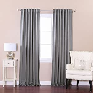 "Best Home Fashion Basic Thermal Insulated Blackout Curtains - Back Tab/Rod Pocket - Grey - 52"" W x 84"" L – (Set of 2 Panels)"