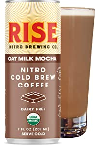 RISE Brewing Co. | Oat Milk Mocha Nitro Cold Brew Latte (12 Pack) 7 fl. oz. Cans - Organic, Non-GMO | Vegan & Non-Dairy | Draft Nitrogen Pour, Clean Energy, Low Acidity & Refreshingly Smooth