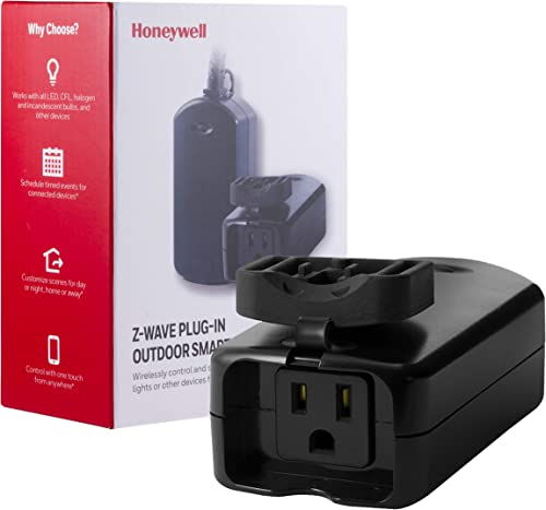 Honeywell UltraPro Z-Wave Plus Outdoor Switch, Single Outlet Plug-In Weather-Resistant for Outside Lighting ZWave Hub Required – Alexa and Google Assistant Compatible, 39346