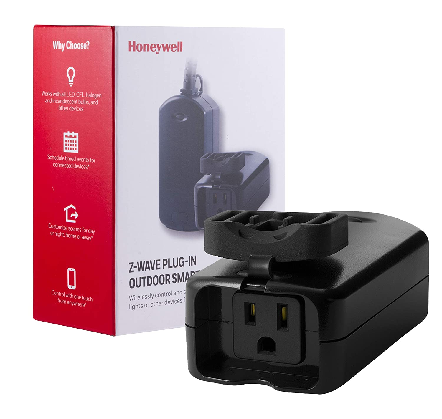Honeywell Z-Wave Plus Outdoor On/Off Light and Appliance Switch, Single Grounded Outlet Plug-In   1 Weather Resistant Outlet Cover   ZWave Hub Required - SmartThings, Wink, and Alexa Compatible, 39346