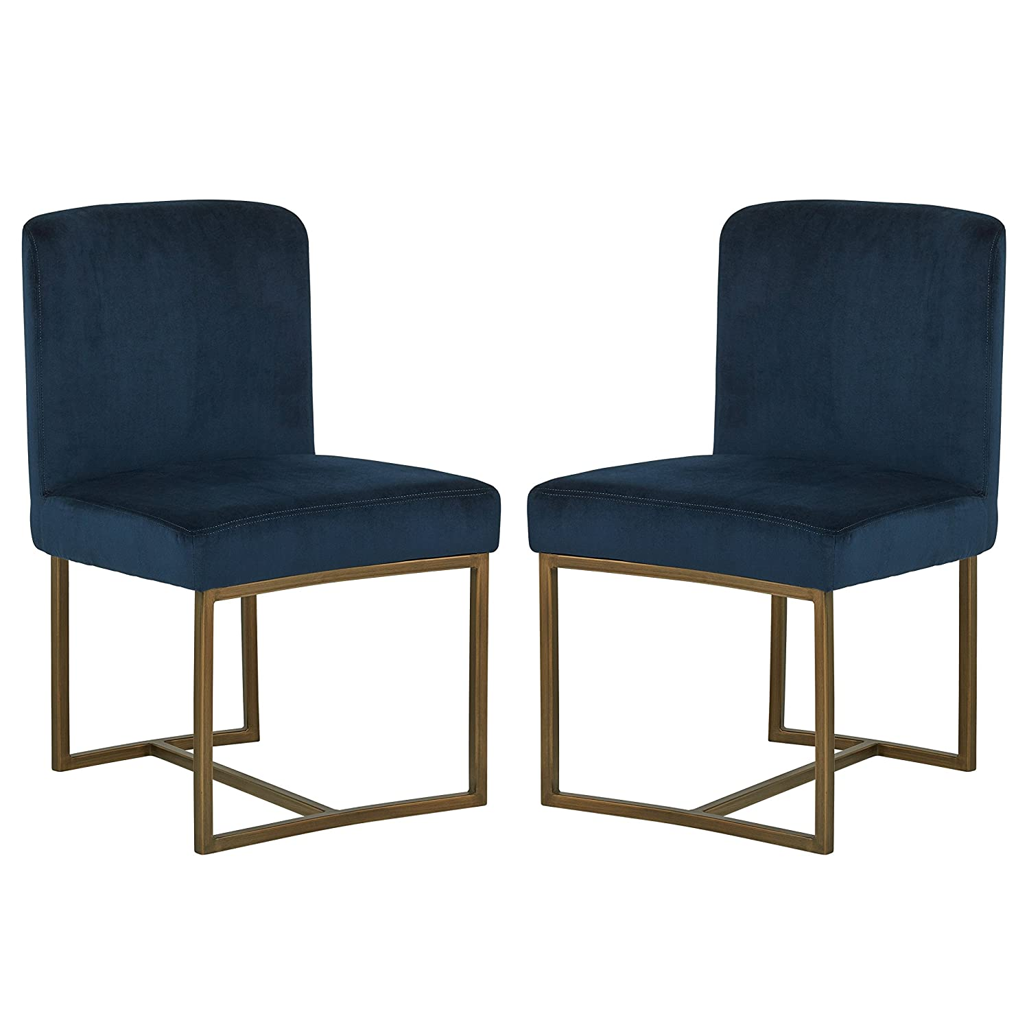 Rivet Eastern Modern Dining Room Kitchen Chairs, Velvet, 32 Inch Height, Set of 2, Blue, Bronze Metal