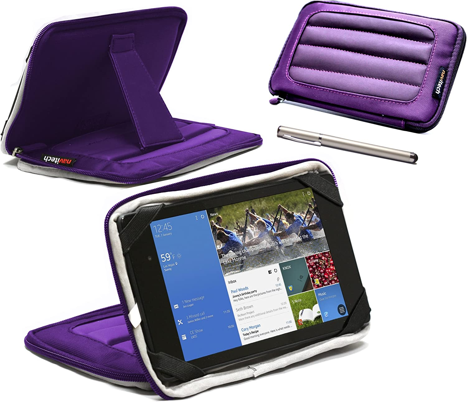 Navitech Purple 7 inch Neoprene Case Cover Sleeve with Stand & Stylus Pen Compatible with The Acer Iconia One 7 / Acer Iconia B1-720 / Acer Iconia Tab 7 A1-713 / Acer Iconia Tab 7 A1-713HD