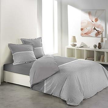 Douceur Dintérieur Bettwäsche Bettbezug Baumwolle Grauweiß 220