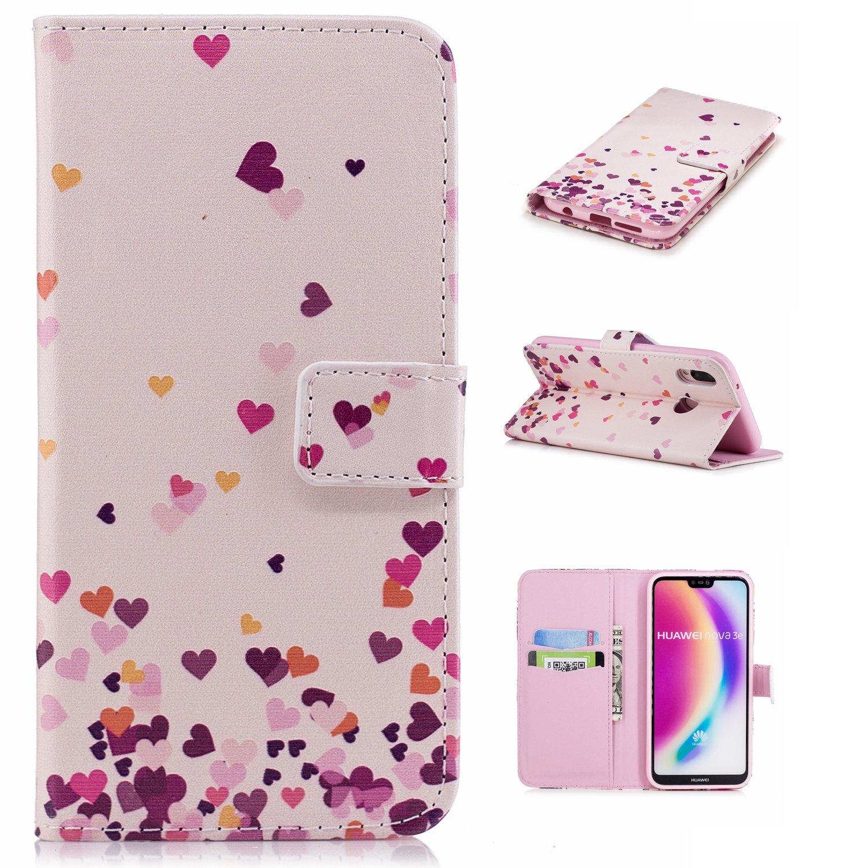 pour Coque Huawei P20 Lite, Housse Coque Protecteur Clapet Portefeuille Cuir PU Luxe avec Fentes et Support de Carte (S)