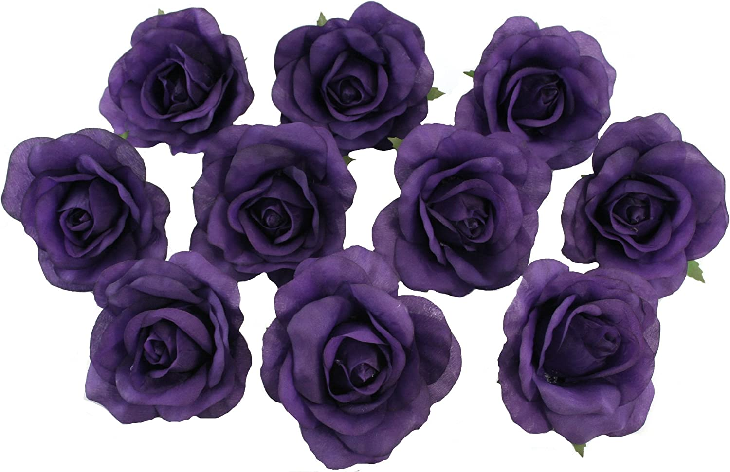 TheBridesBouquet 10 Purple Rose Heads Silk Flower Wedding/Reception Table Decorations (Large)