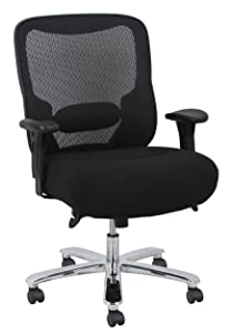 Essentials Big and Tall Executive Chair - Fabric and Mesh Office Chair with Adjustable Arms, Black