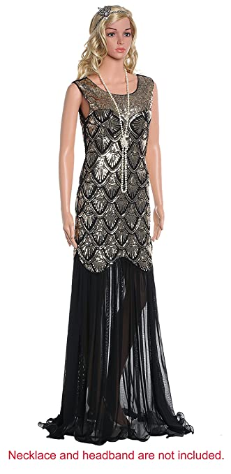 BABEYOND Womens 1920s Long Dress Scale Beaded Sequin Maxi Prom Evening Dress (Gold, Label XL/ UK18/ EU46): Amazon.co.uk: Clothing