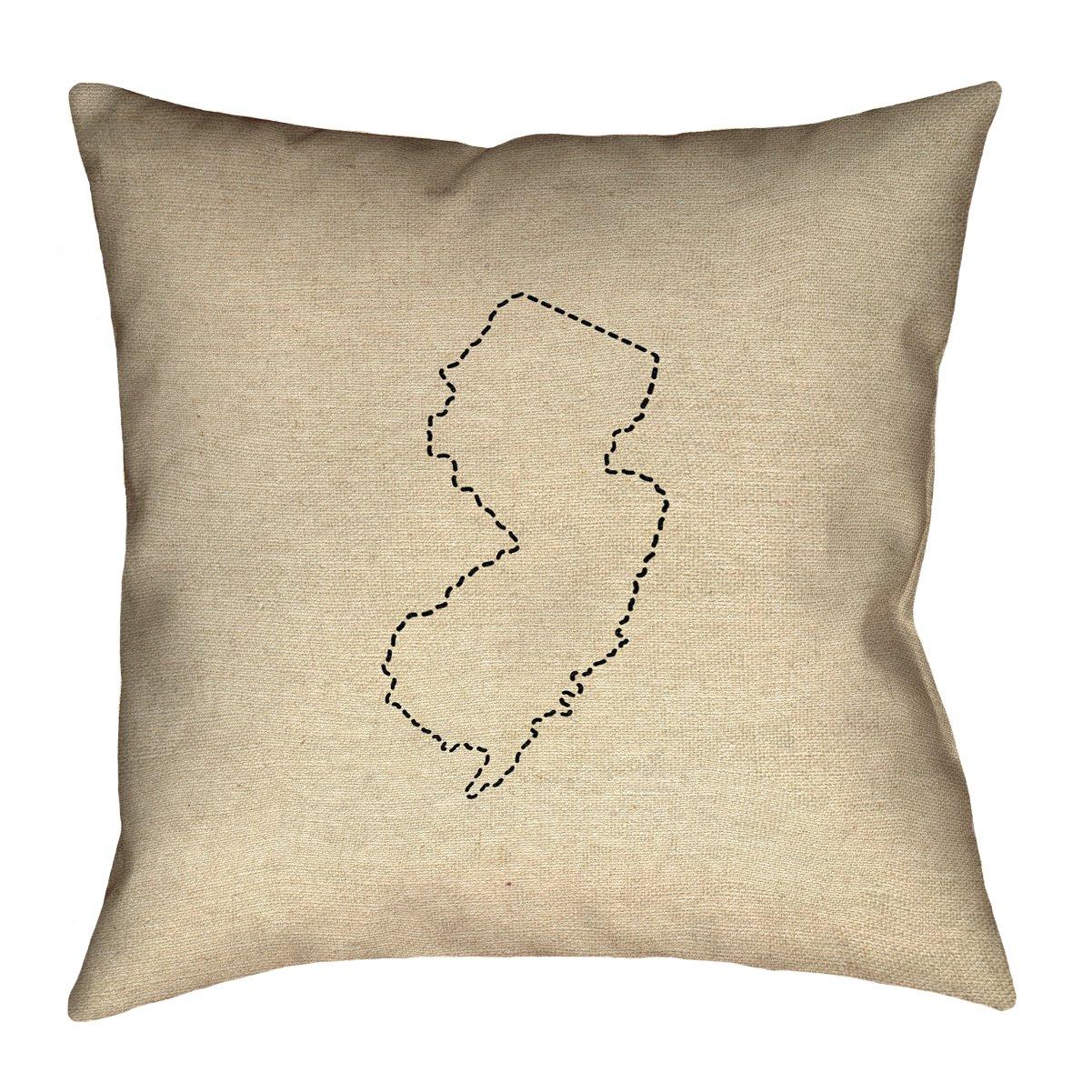 ArtVerse Katelyn Smith 20 x 20 Spun Polyester New Jersey Outline Pillow