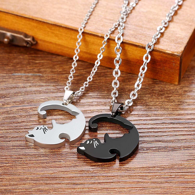 Schwarz Silber Cupimatch Paare Kette Puzzle Katze Halskette Freundschaftskette f/ür Sie und Ihn 2 Verliebte Paar Schmuck