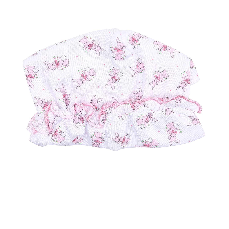 Magnolia Baby Baby Girl Vintage Bunnies Printed Ruffle Hat Pink
