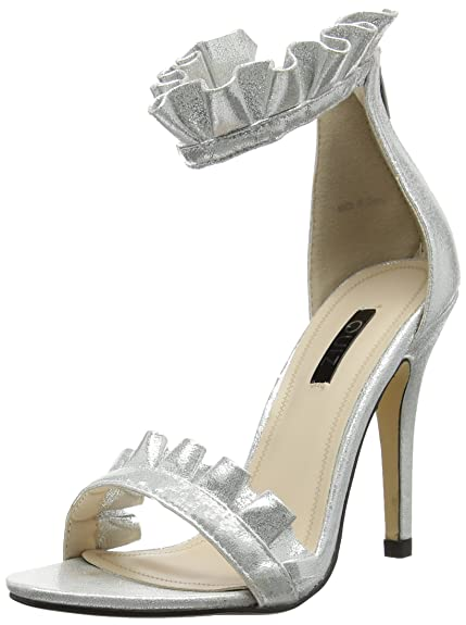 Womens Silver Frill Barely Theres Ankle Strap Sandals Quiz qLdcgHs