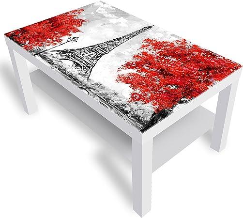 Ikea Paris Table D Appoint Laquee Avec Plateau En Verre Blanc 90 X 55 X 45 Cm Amazon Fr Cuisine Maison