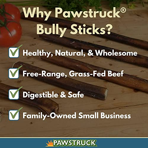 Pawstruck 12 Straight Bully Sticks for Dogs X-Large Thickness All Natural Odorless Bully Bones Long Lasting Chew Dental Treats Best Thick Bullie Sticks for K9 or Puppies Grass-Fed Beef