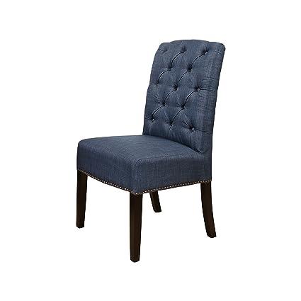Swell Amazon Com Abbyson Verona Linen Parsons Dining Chair Navy Ncnpc Chair Design For Home Ncnpcorg