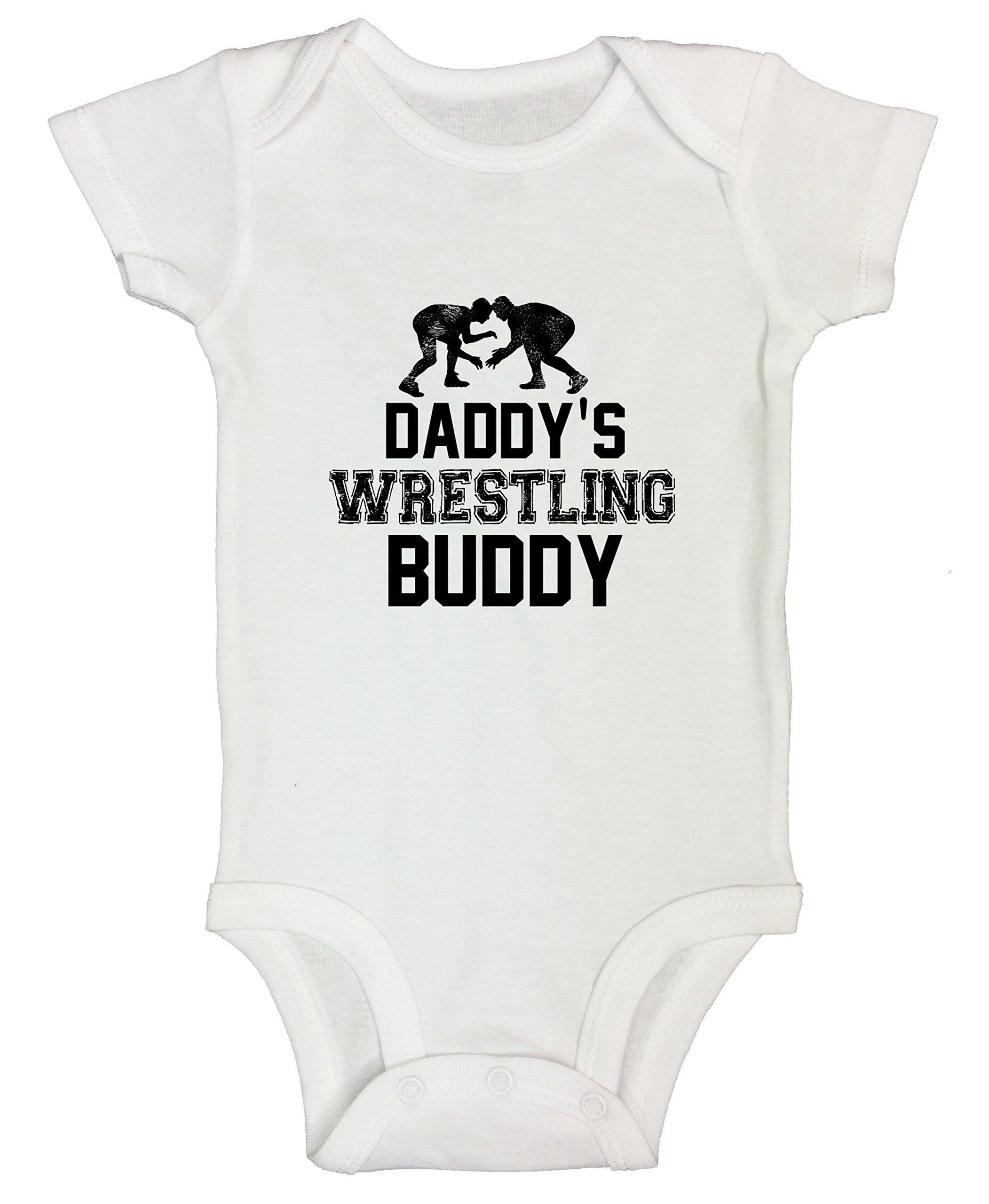 "Funny Boy Onesie Bodysuit ""Daddy Wrestling Buddy"" Gift for Daddy - Funny Threadz Kids 0-3 Months, White"