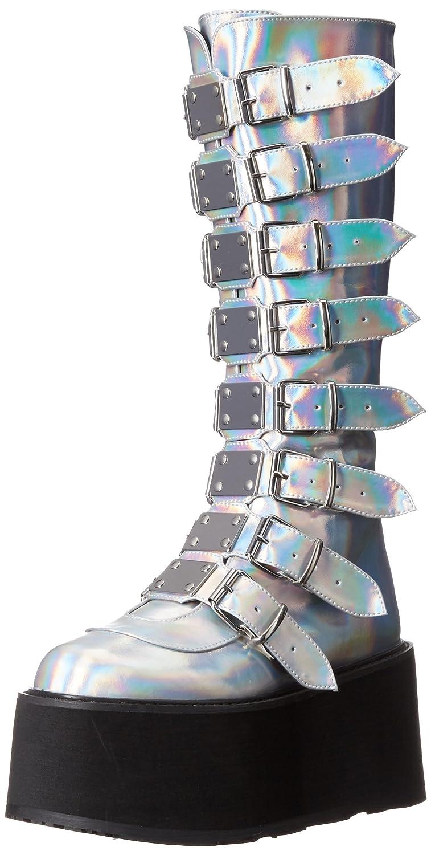Demonia Women's Damned-318 Knee High Boot B071L1T8TH 8 B(M) US|Silver Hologram Vegan Leather
