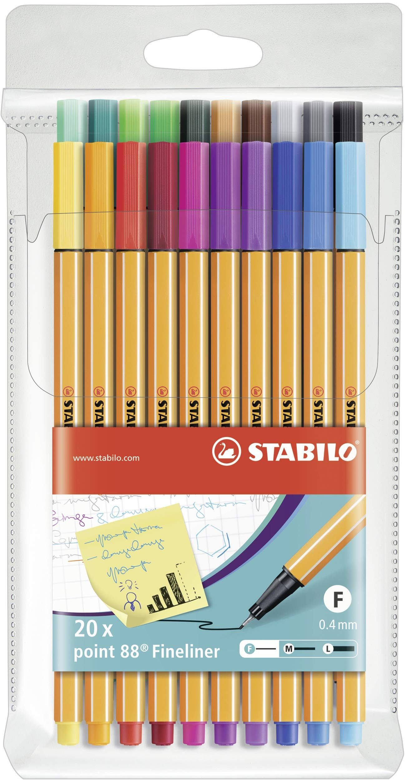 Stabilo Point 88 Wallet, 20-Color Set by STABILO