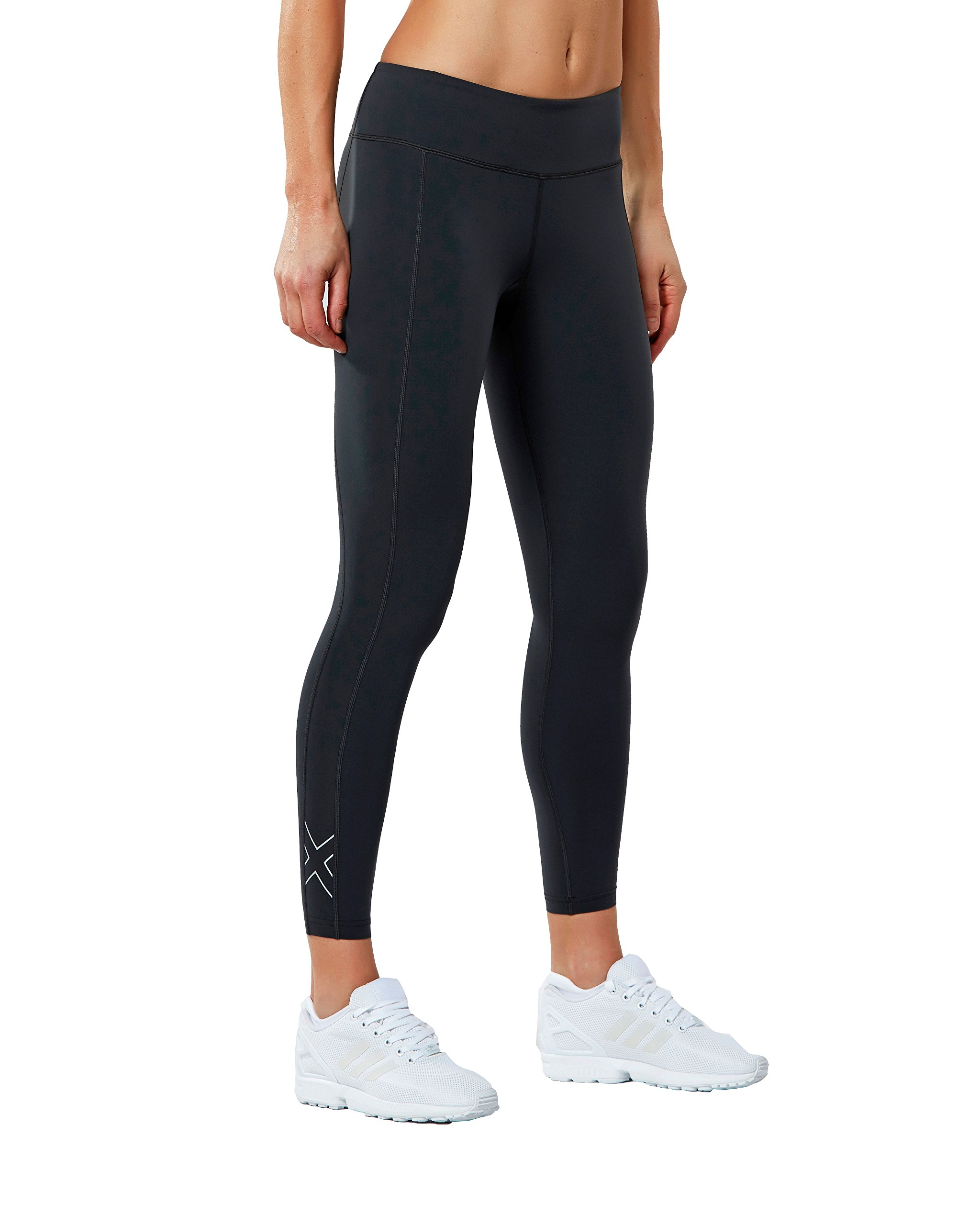 2XU Women's Fitness Compression Tights, Dark Charcoal/Silver, Medium/Tall by 2XU (Image #1)