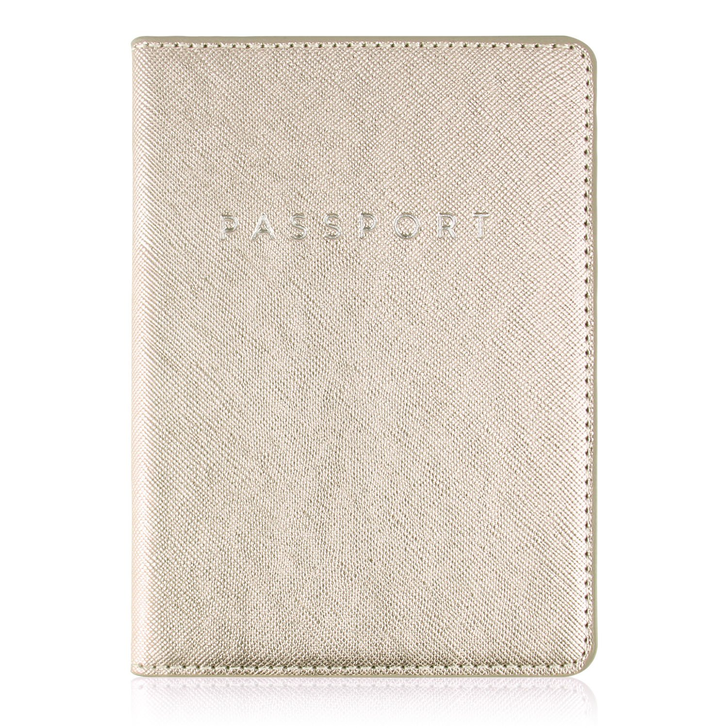 Leminimo Leather Passport Cover Case With RFID Blocking - Champagne Gold Passport Holder Travel Wallet LMPH-ChampGold