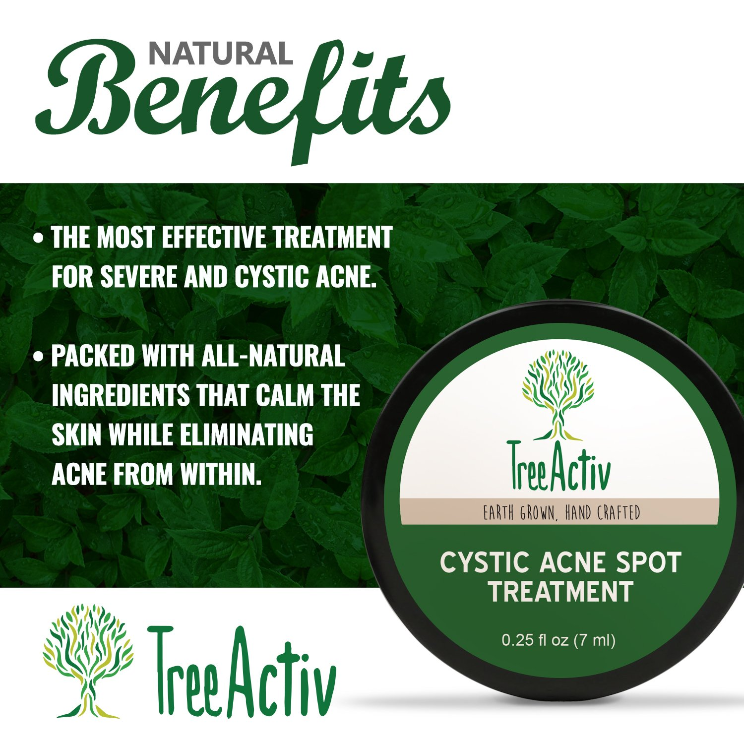 TreeActiv Cystic Acne Spot Treatment, Best Extra Strength Fast Acting Formula for Clearing Severe Acne from Face and Body, Gentle Enough for Sensitive Skin, Adults, Teens, Men, Women (0.25 Ounce) by TreeActiv (Image #2)