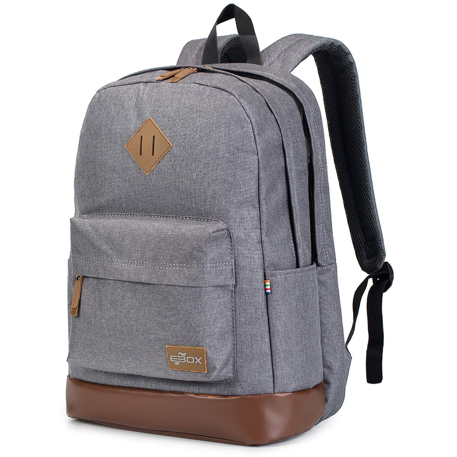 EBOX Unisex 2-Layer Water Resistant Travel Hiking Camping Business Polyester Laptop Backpack Backpacks Daypack Fits 15 15.6 Inch Laptops - Grey by EBOX