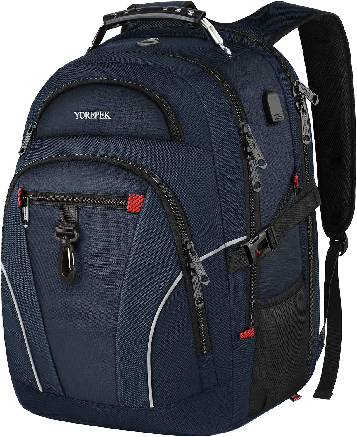 Large Laptop Backpack,Business Travel Durable Laptops Backpack with USB Charging Port,Water Resistant College School Computer Bag for Women and Men Fits 17 Inch Laptop and Notebook,Blue