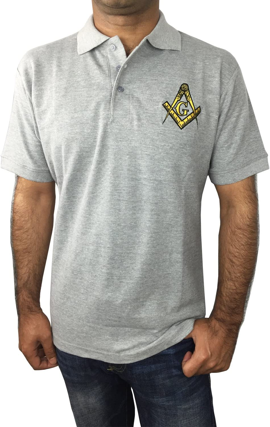 Large, Gray Unique Regalia Masonic Polo Shirt with Embroidered Square Compass /& G for Masons