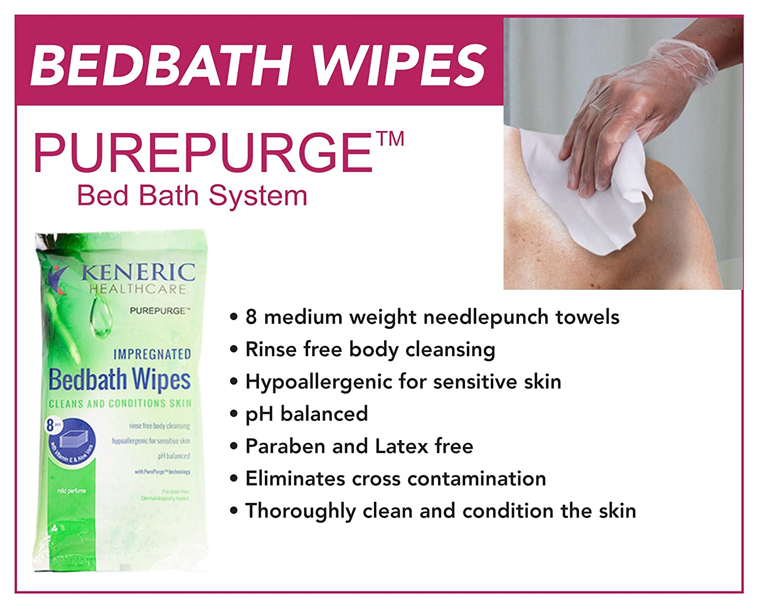 Amazon.com: PurePurge Bed Bath Wipes - Case of 30 Packs, 8 Wipes/Pack (240 Total Wipes): Health & Personal Care