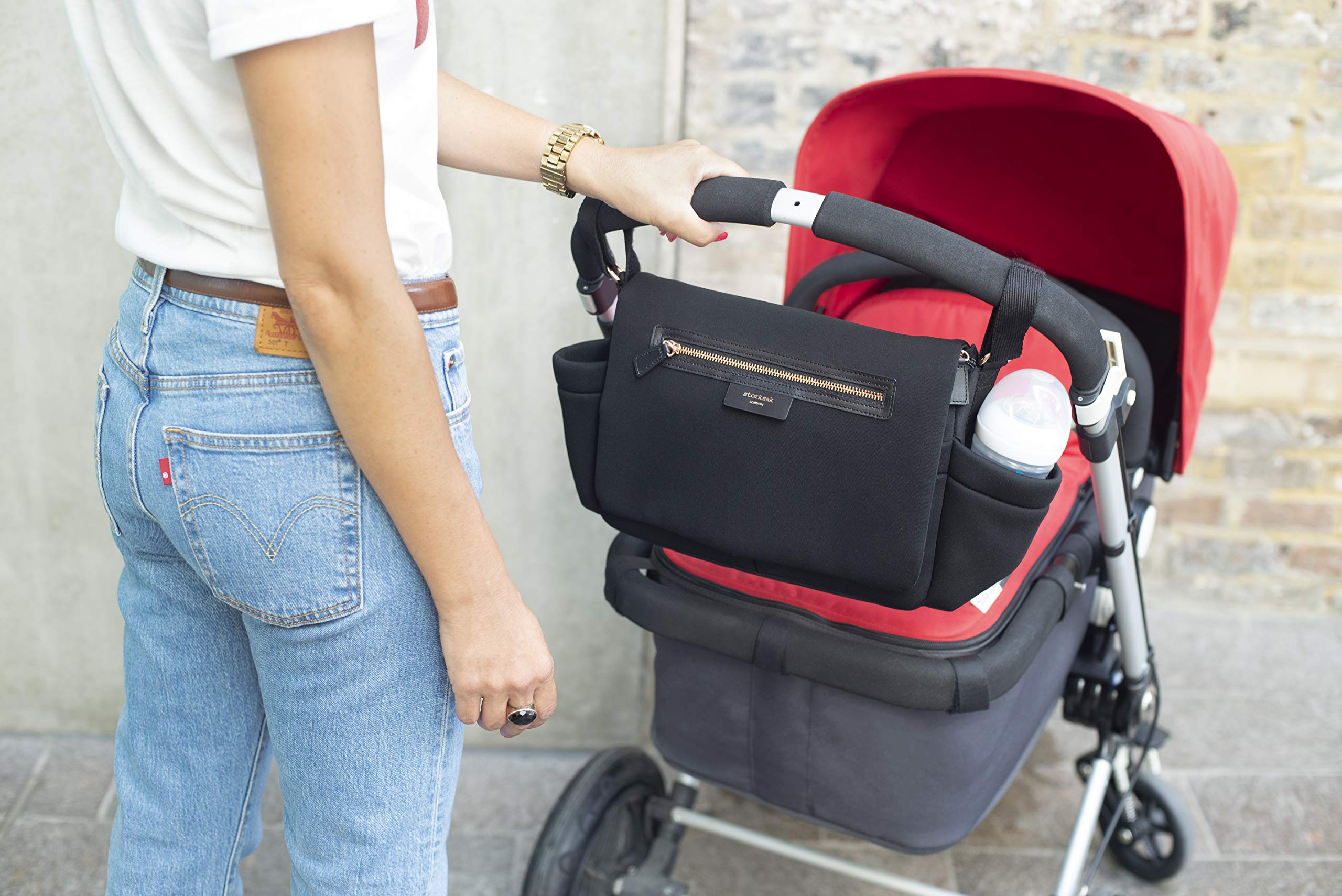 Black Travel Stroller Organizer and Hanging Diaper Bag by Storksak | Universal Fit, Large Storage Capacity, Baby Caddy with Elastic Cup Holder and Integrated Accessories by Storksak (Image #7)