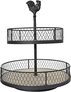 Creative Co-op 2-Tier Wood & Metal Round Trays with Rooster Top Decorative Accents, Black