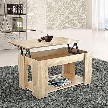 WEIBO Modern Stylish Oak Lift Up Top Coffee Table With Storage U0026 Bottom  Shelf, Rectangle