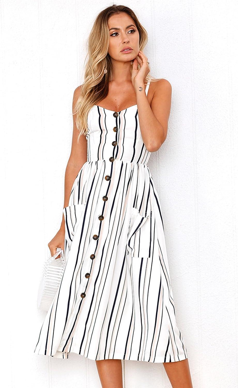 Angashion Womens Dresses-Summer Floral Bohemian Spaghetti Strap Button Down Swing Midi Dress with Pockets