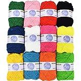 Asian Hobby Crafts 12pcs Combo Wool Ball. Hand Knitting Art Craft Soft Fingering Crochet Hook Yarn, Needle Knitting Thread Dyed
