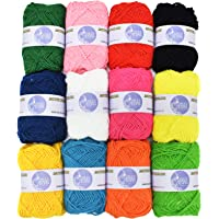 Asian Hobby Crafts 12 pc Combo Wool Ball. Hand Knitting Art Craft Soft Fingering Crochet Hook Yarn, Needle Knitting Thread Dyed