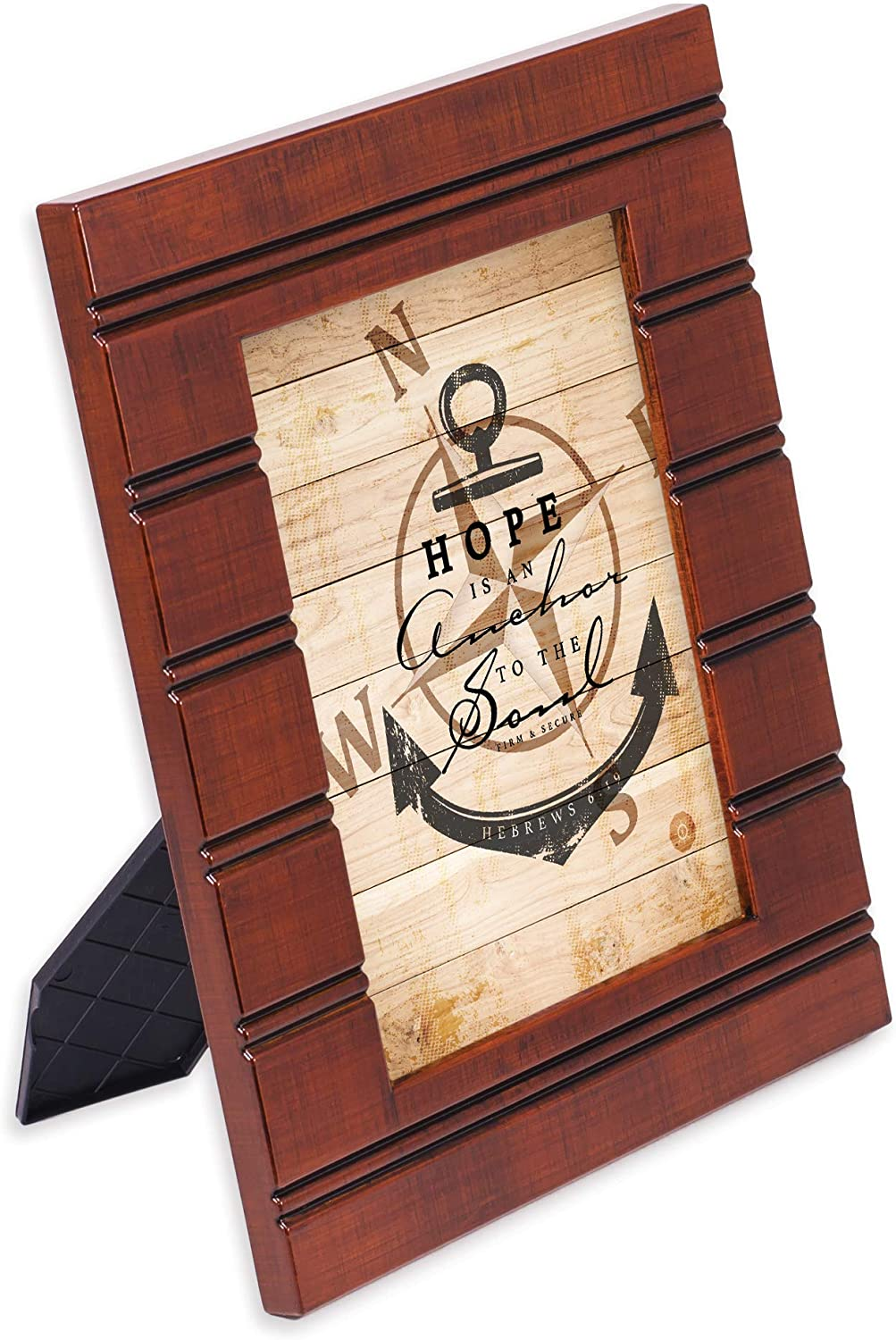 Cottage Garden Hope is an Anchor to The Soul Woodgrain Beaded Board 5 x 7 Table Top and Wall Photo Frame