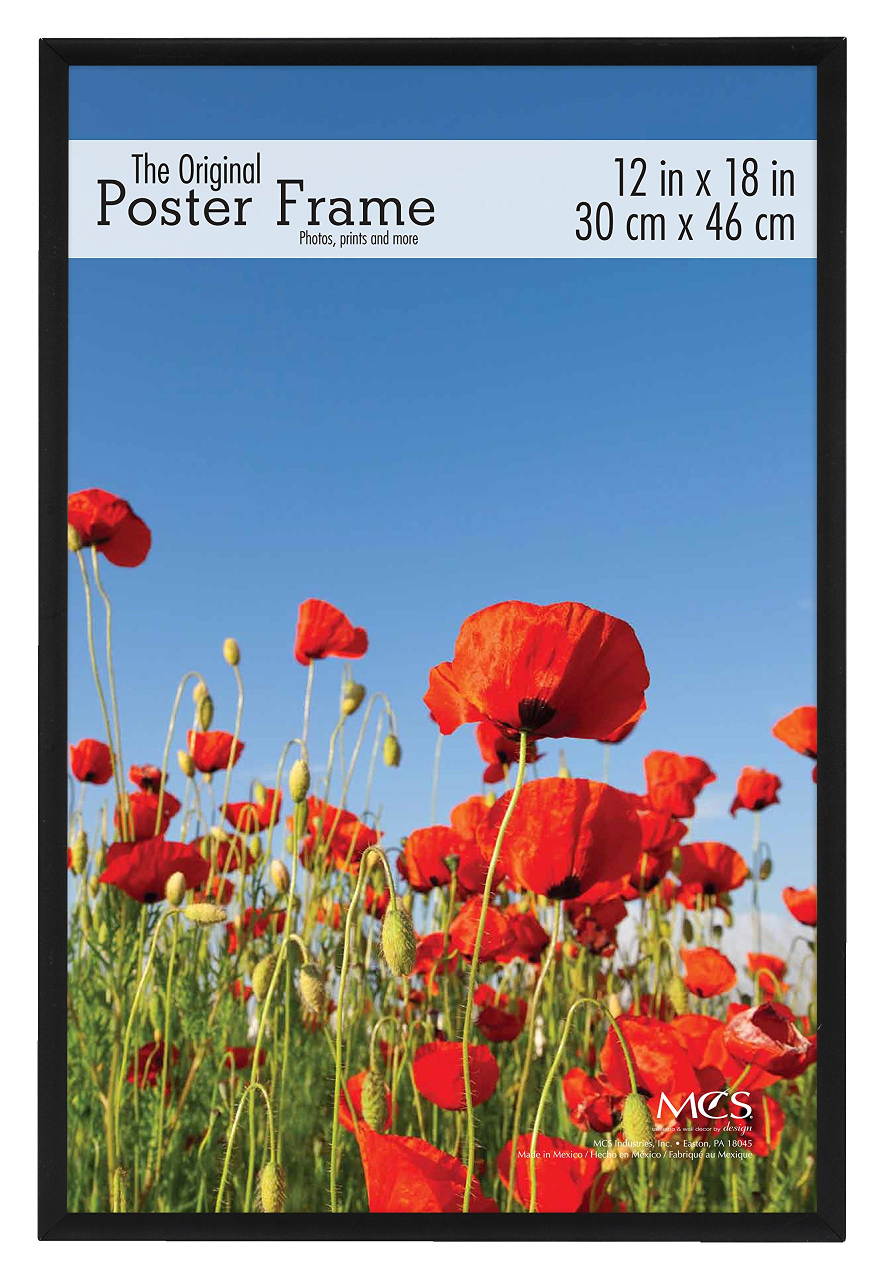 Black plastic POSTER size frame with Corrugated Backing - 12x18