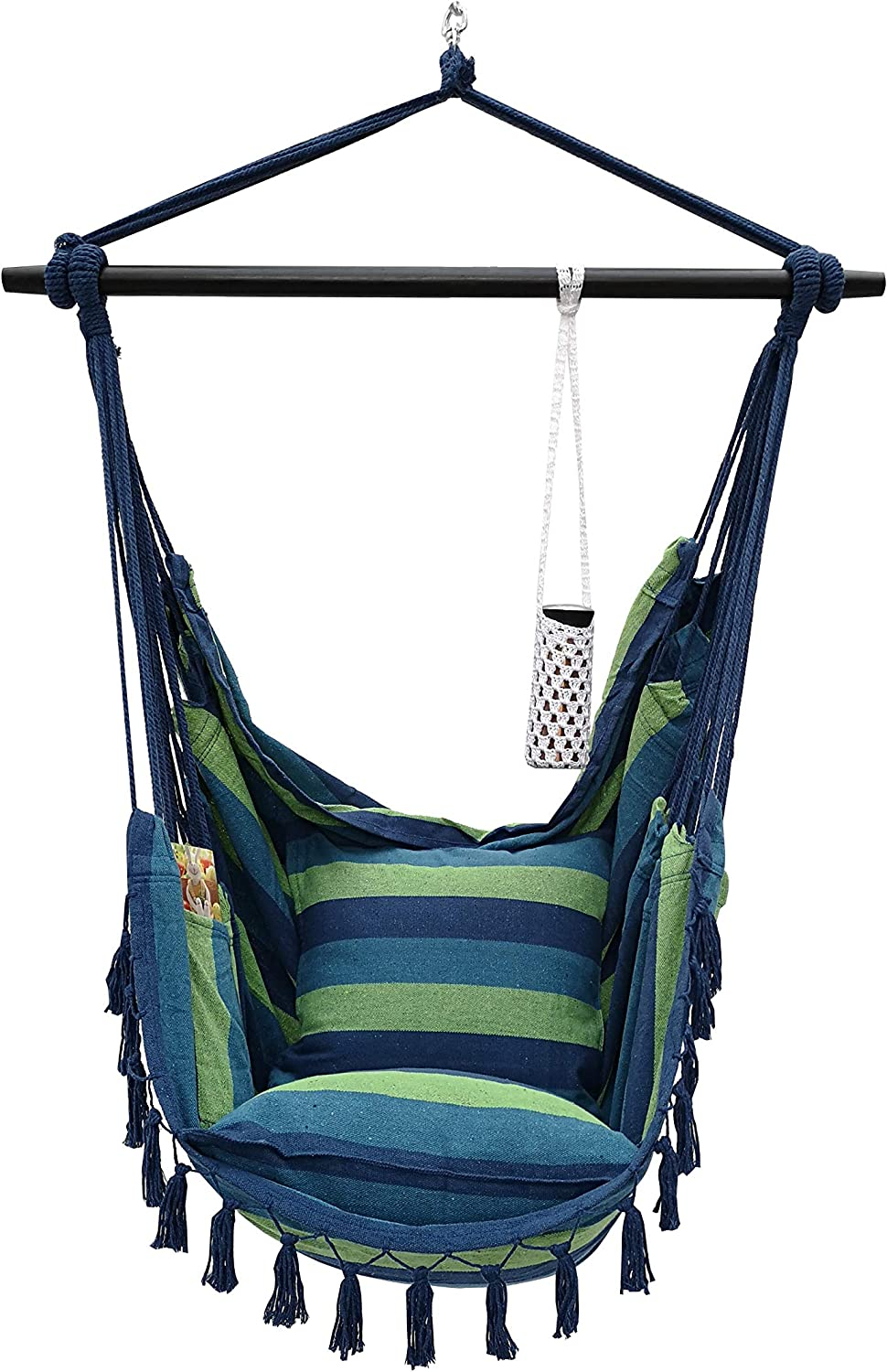 Project One Hanging Rope Hammock Chair, Hanging Rope Swing Seat with 2 Pillows, Carrying Bag, and Hardware Kit Perfect for Outdoor/Indoor Yard Deck Patio and Garden, 300 LBS Cap (Blue Green Stripe)