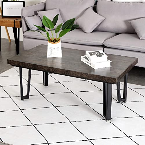 ivinta Coffee Table Dining Table Farmhouse Wooden Coffee Tables Rectangular Accent Table Metal Industrial Cocktail Table for Living Room Small Space 43.3 x 23.6 Inch