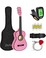 Best Choice Products 30in Kids Classical Acoustic Guitar Complete Beginners Kit w/Carrying Bag, Picks, E-Tuner, Strap (Pink)