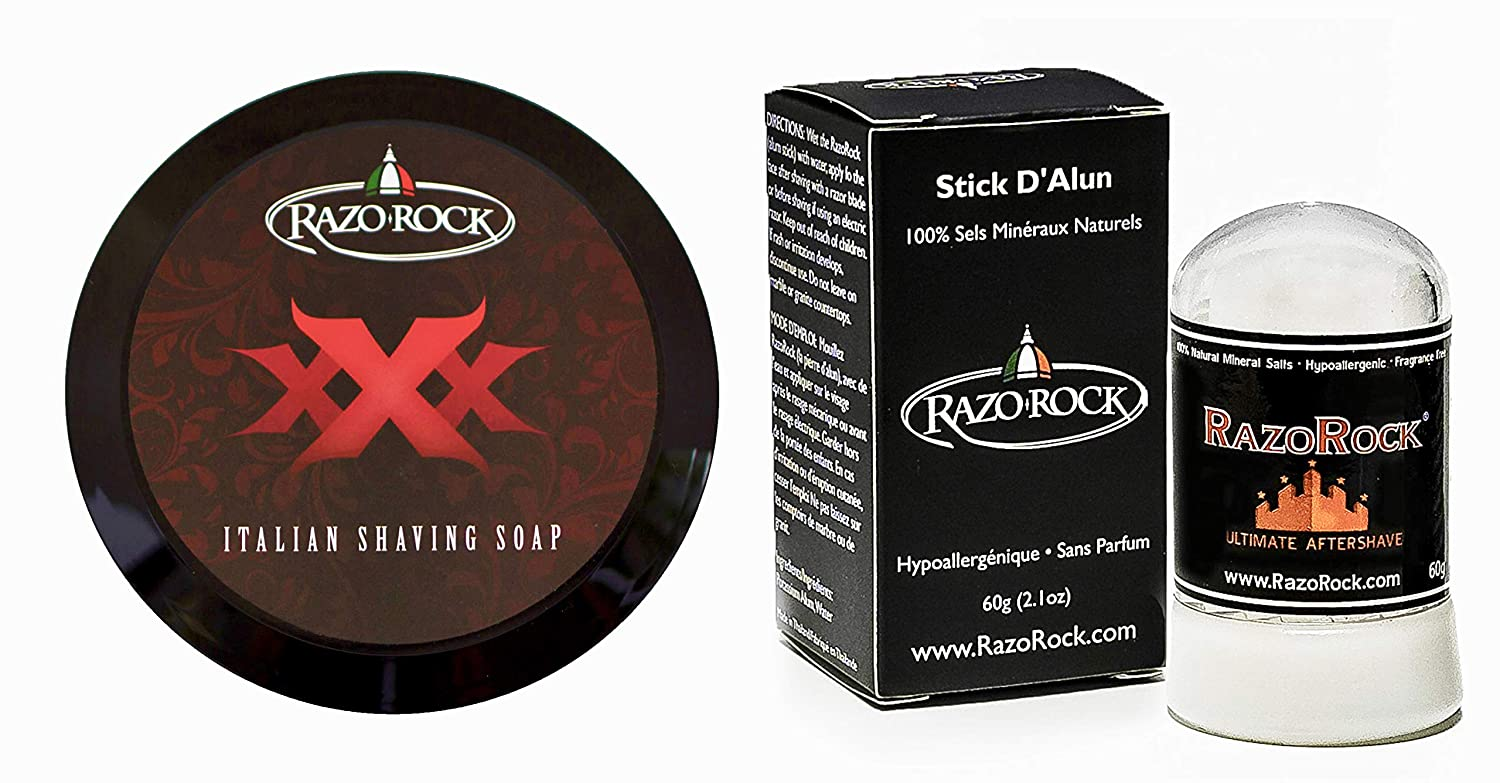 RazoRock XXX Italian Shaving Soap Bundle with Alum After Shave Stick (60 grams) For Men I Artisan Made, Natural Healing and Toning (2 Items)
