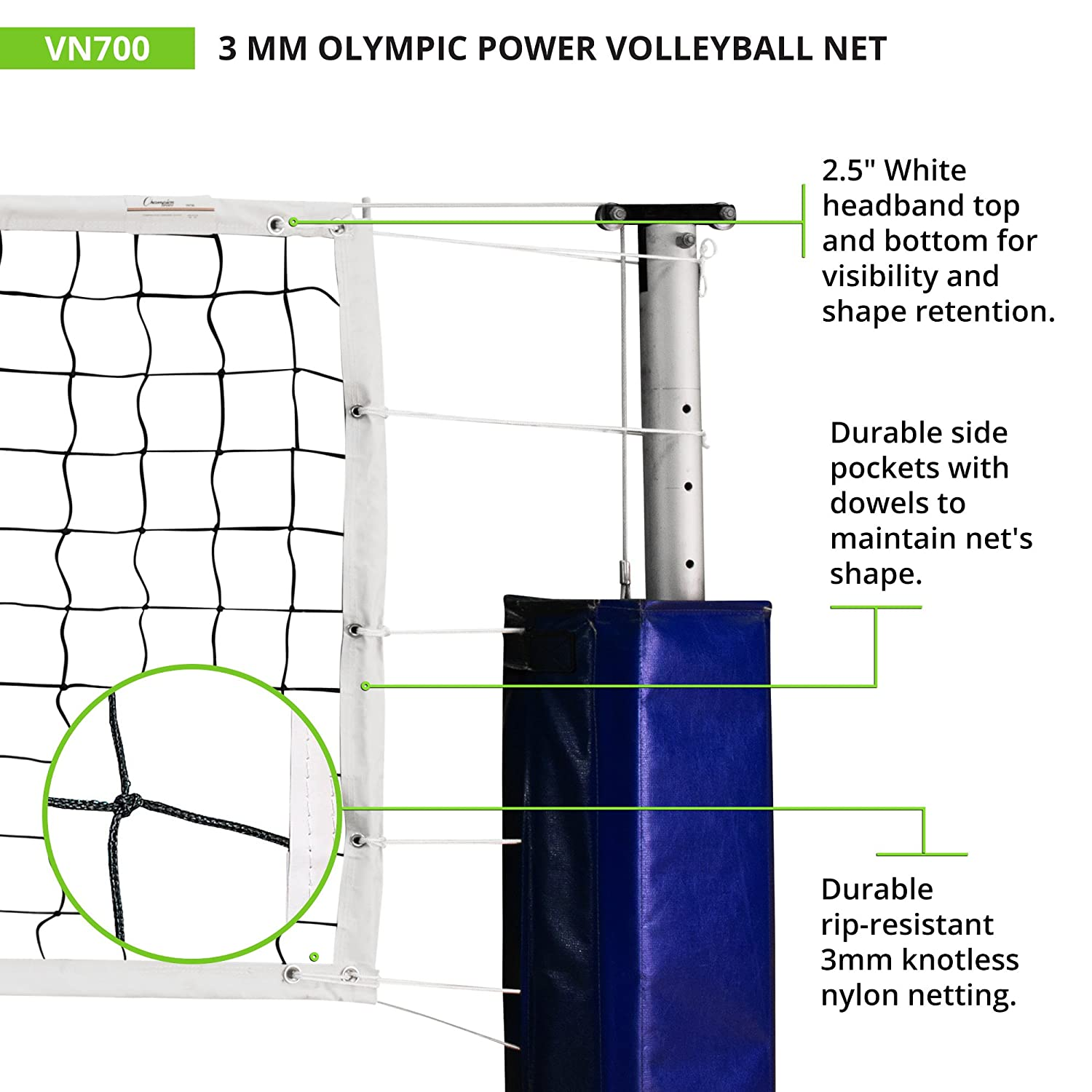 amazon com champion sports official tournament and olympic sized rh amazon com Volleyball Setting Diagram Blank Volleyball Court Diagram